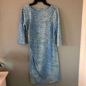J. McLaughlin Blue Cheetah Print Dress